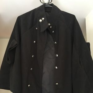 Black Nordstrom cape with arm holes.